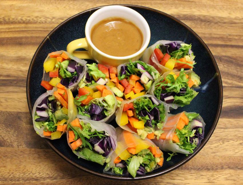 Marukan Spring Rolls with Spicy Peanut Sauce
