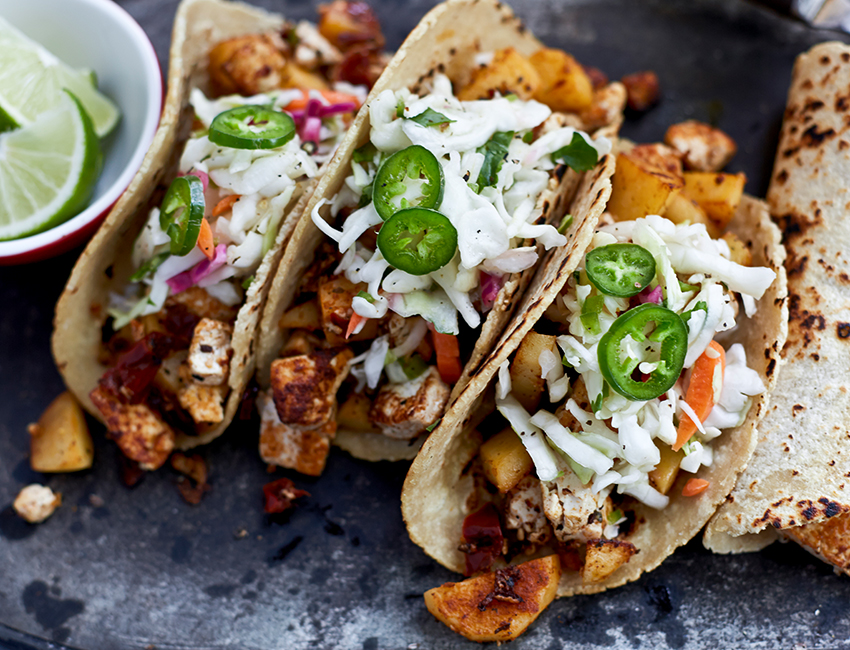 Chipotle Tofu and Potato Tacos