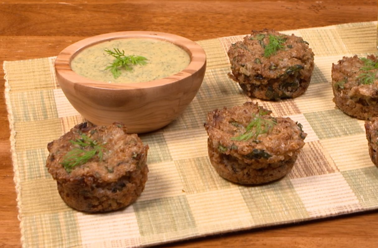 Awesome Appetizer ~ Quinoa Spinach Bites with Dill Dipping Sauce