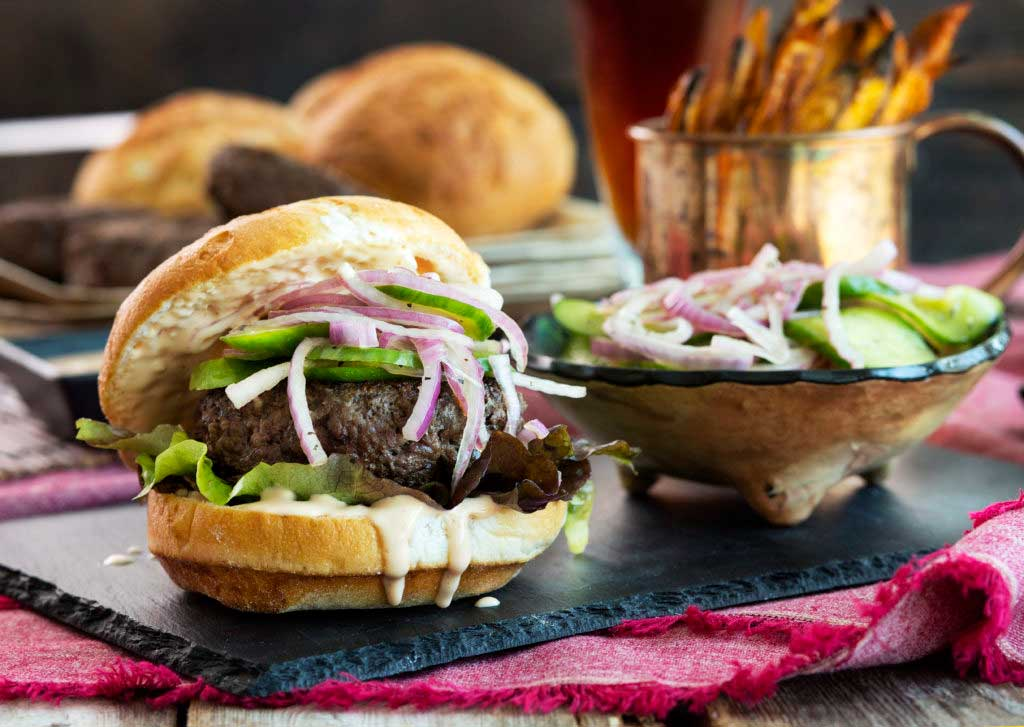 Ponzu Burgers with Quick Ponzu Pickles