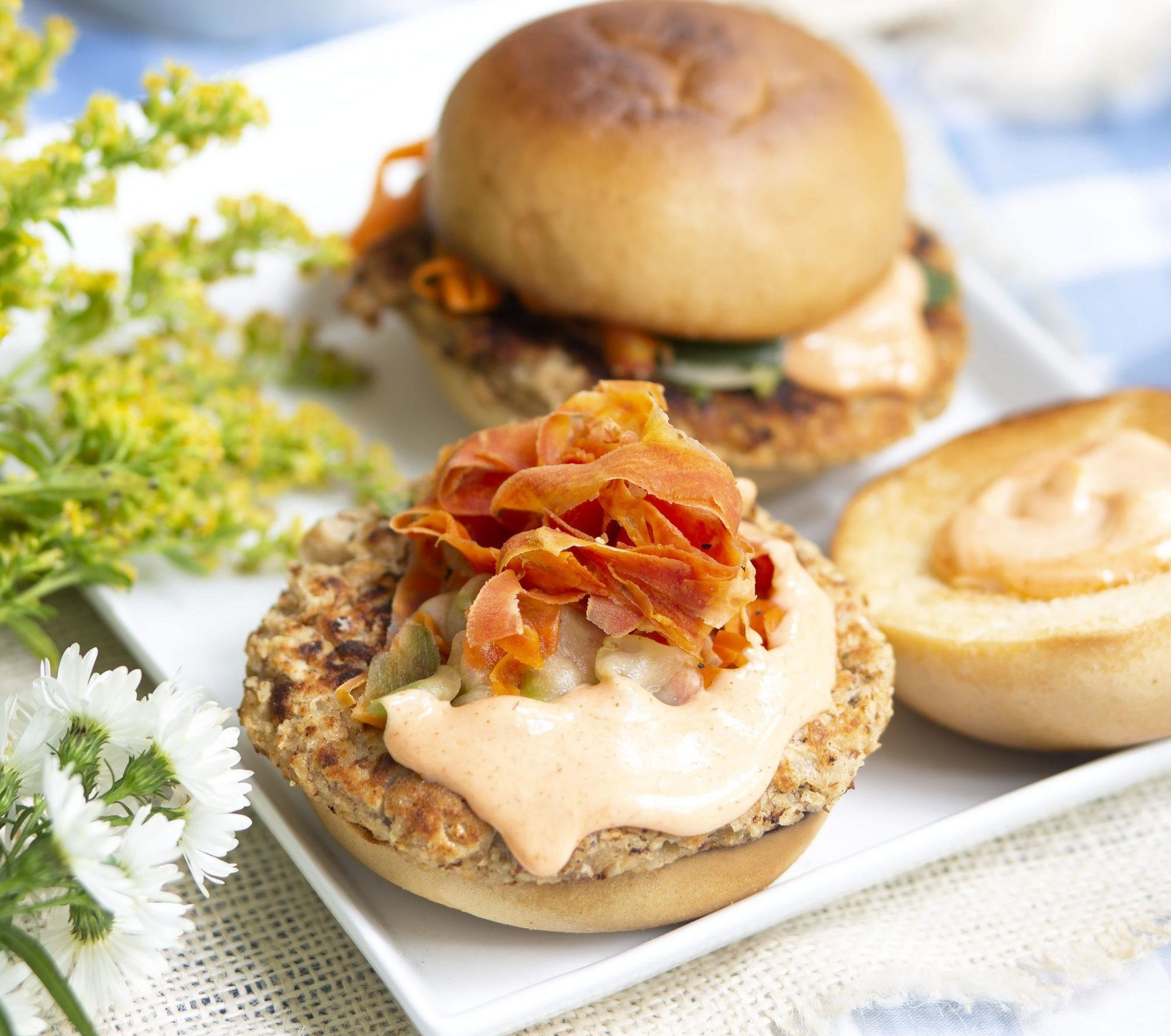 Marukan White Bean Ponzu Burgers with Quick Ponzu Pickles