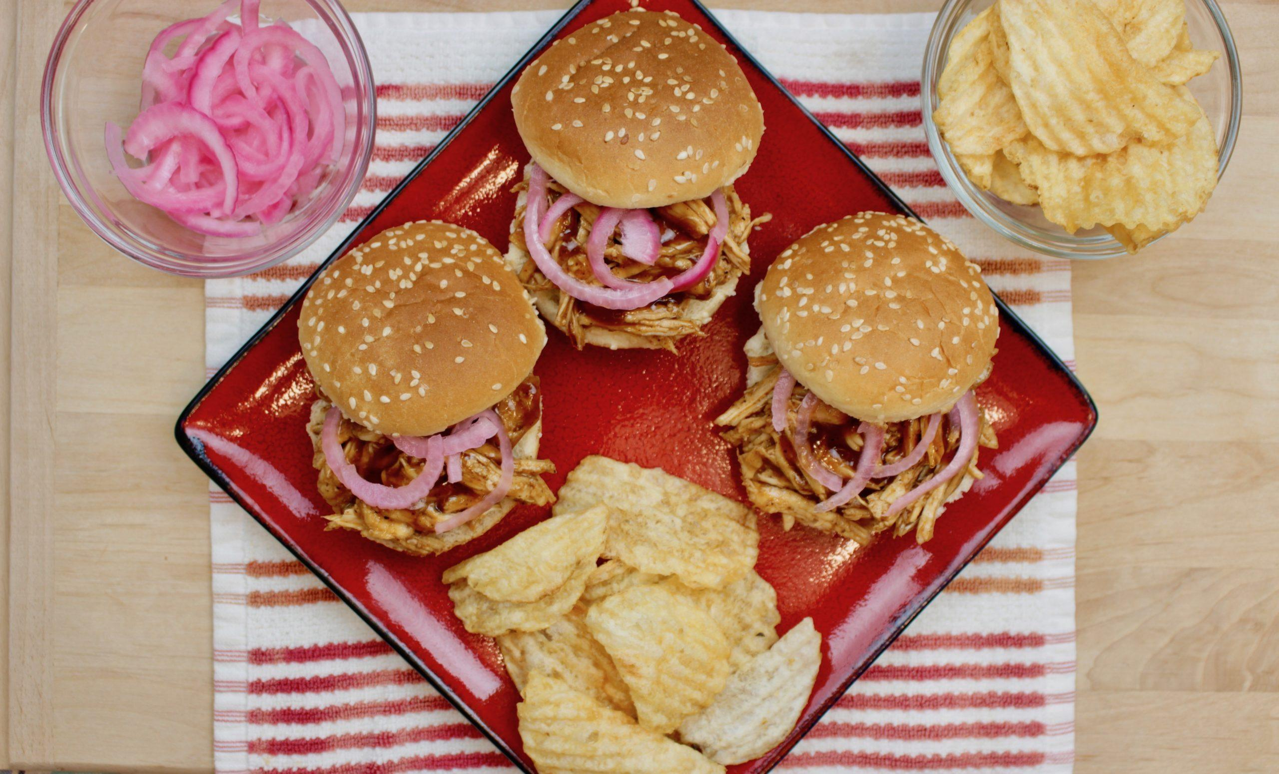 Marukan Instant Pot BBQ Chicken Sliders with Pickled Onions